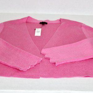 NWT Talbots Pink Scallop Sleeve Open Shrug